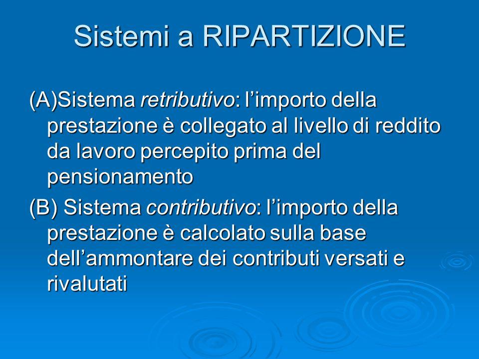 Sistemi a RIPARTIZIONE (A)Sistema retributivo: l'importo della prestazione è collegato al livello di reddito da lavoro percepito prima del pensionamen