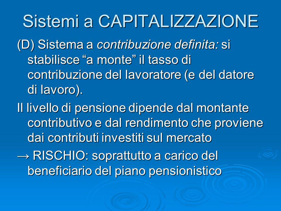 """Sistemi a CAPITALIZZAZIONE (D) Sistema a contribuzione definita: si stabilisce """"a monte"""" il tasso di contribuzione del lavoratore (e del datore di lav"""