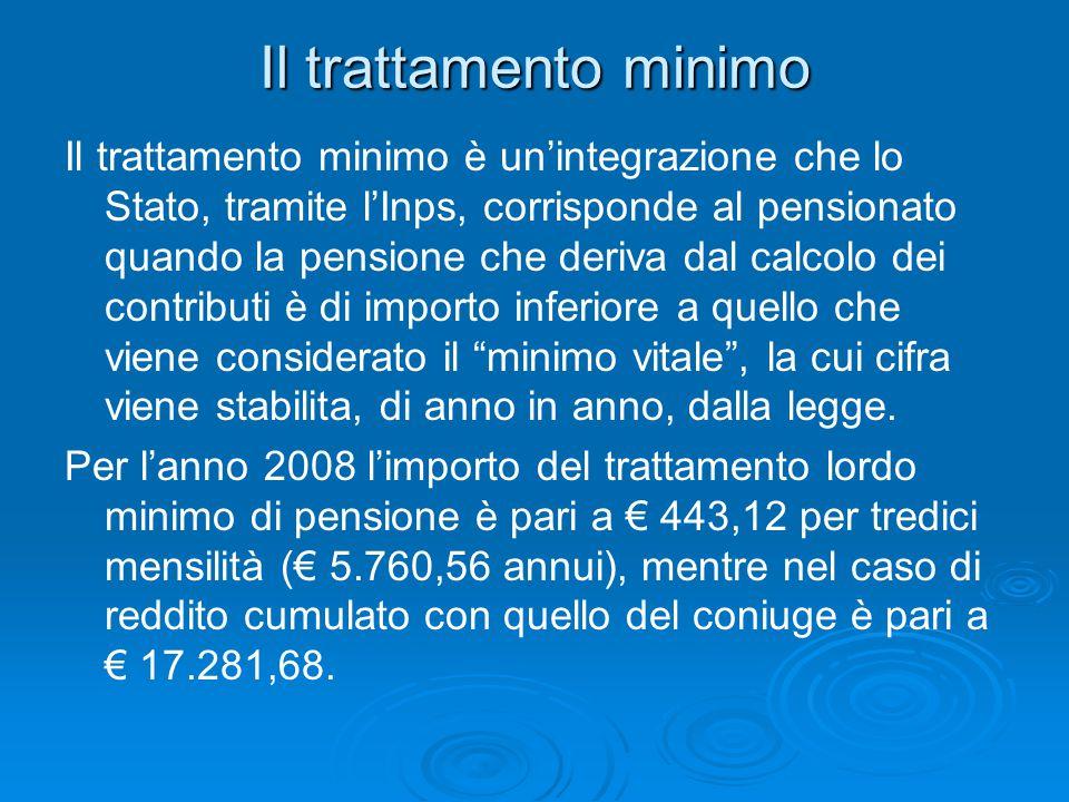 Il trattamento minimo Il trattamento minimo è un'integrazione che lo Stato, tramite l'Inps, corrisponde al pensionato quando la pensione che deriva da
