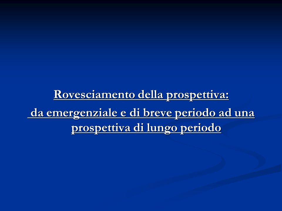 Rovesciamento della prospettiva: da emergenziale e di breve periodo ad una prospettiva di lungo periodo da emergenziale e di breve periodo ad una prospettiva di lungo periodo