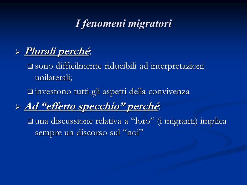 I fenomeni migratori  Plurali perché:  sono difficilmente riducibili ad interpretazioni unilaterali;  investono tutti gli aspetti della convivenza  Ad effetto specchio perché:  una discussione relativa a loro (i migranti) implica sempre un discorso sul noi