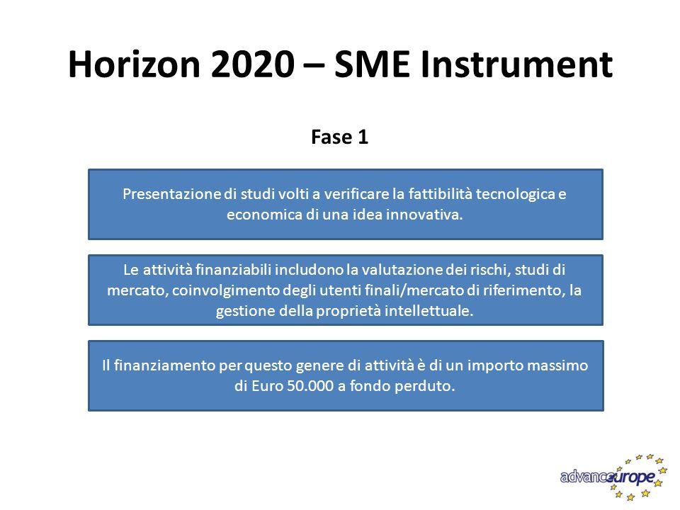 Horizon 2020 – SME Instrument Fase 2 Misura per lo sviluppo di attività di ricerca e sviluppo industriale con focus sulle attività dimostrative, di tutela della proprietà intellettuale e di commercializzazione dei risultati L'obbiettivo è quello di sviluppare progetti di innovazione che affrontano una specifica sfida della società/mercato e dimostrando un elevato potenziale in termini di competitività e di crescita e ready to market.