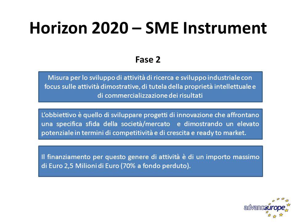 Horizon 2020 – SME Instrument Fase 3 Attività di tutoring e coaching per posizionamento sul mercato dei nuovi prodotti Non è previsto alcun finanziamento a supporto
