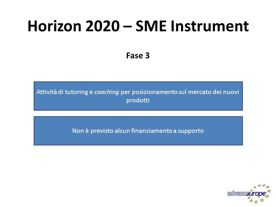 Horizon 2020 – SME Instrument Fase 3 Attività di tutoring e coaching per posizionamento sul mercato dei nuovi prodotti Non è previsto alcun finanziame