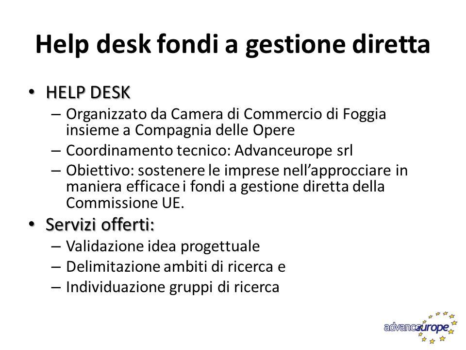 Help desk fondi a gestione diretta HELP DESK HELP DESK – Organizzato da Camera di Commercio di Foggia insieme a Compagnia delle Opere – Coordinamento