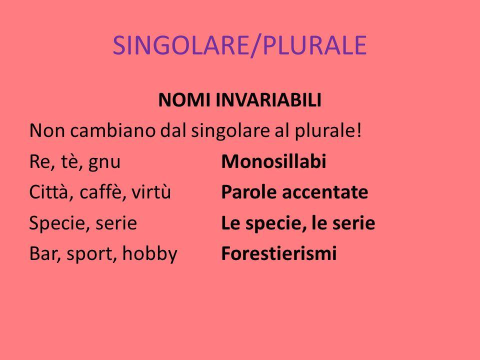 SINGOLARE/PLURALE NOMI INVARIABILI Non cambiano dal singolare al plurale.