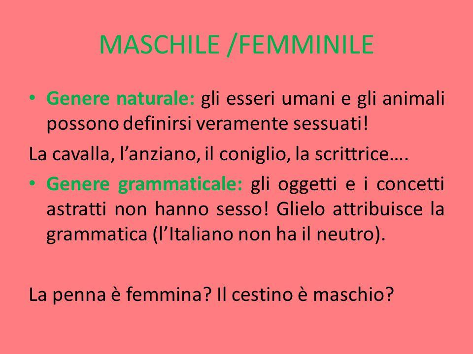 MASCHILE /FEMMINILE Genere naturale: gli esseri umani e gli animali possono definirsi veramente sessuati.