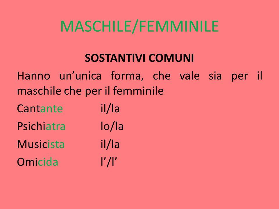 MASCHILE/ FEMMINILE SOSTANTIVI INDIPENDENTI Hanno due forme completamente diverse.