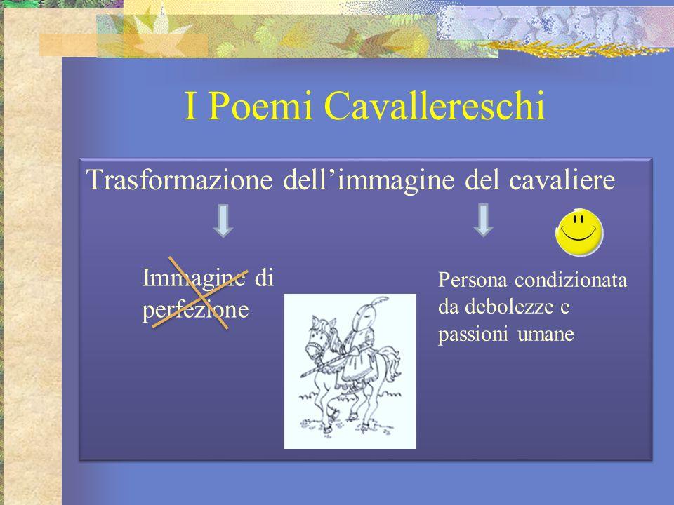 I Poemi Cavallereschi Trasformazione dell'immagine del cavaliere Immagine di perfezione Persona condizionata da debolezze e passioni umane