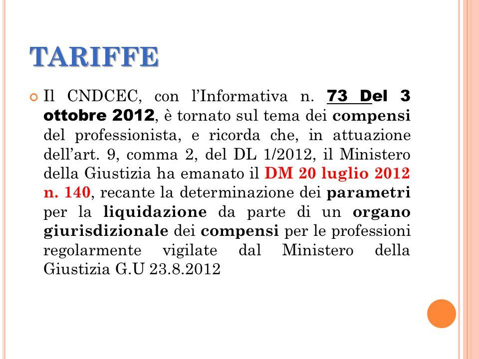 TARIFFE Il CNDCEC, con l'Informativa n.