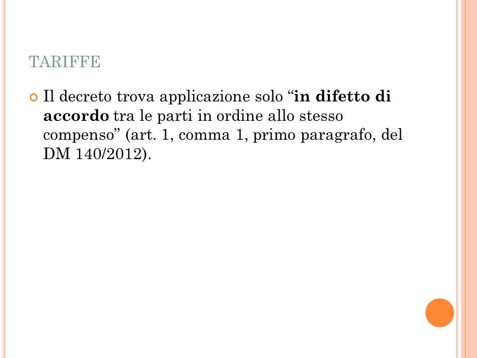 TARIFFE Il decreto trova applicazione solo in difetto di accordo tra le parti in ordine allo stesso compenso (art.