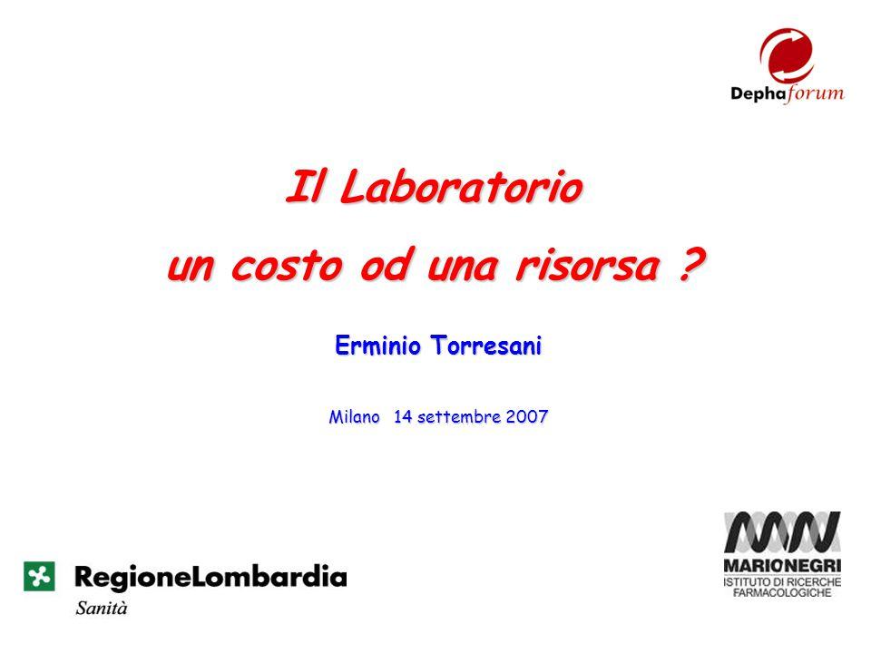 Il Laboratorio un costo od una risorsa ? Milano 14 settembre 2007 Erminio Torresani