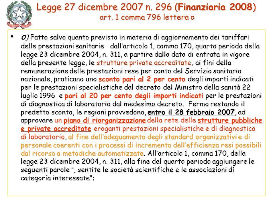 o ) Fatto salvo quanto previsto in materia di aggiornamento dei tariffari delle prestazioni sanitarie dall ' articolo 1, comma 170, quarto periodo del