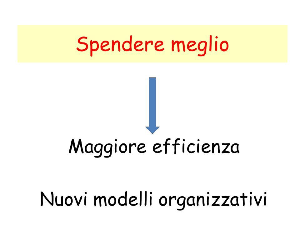 Spendere meglio Maggiore efficienza Nuovi modelli organizzativi