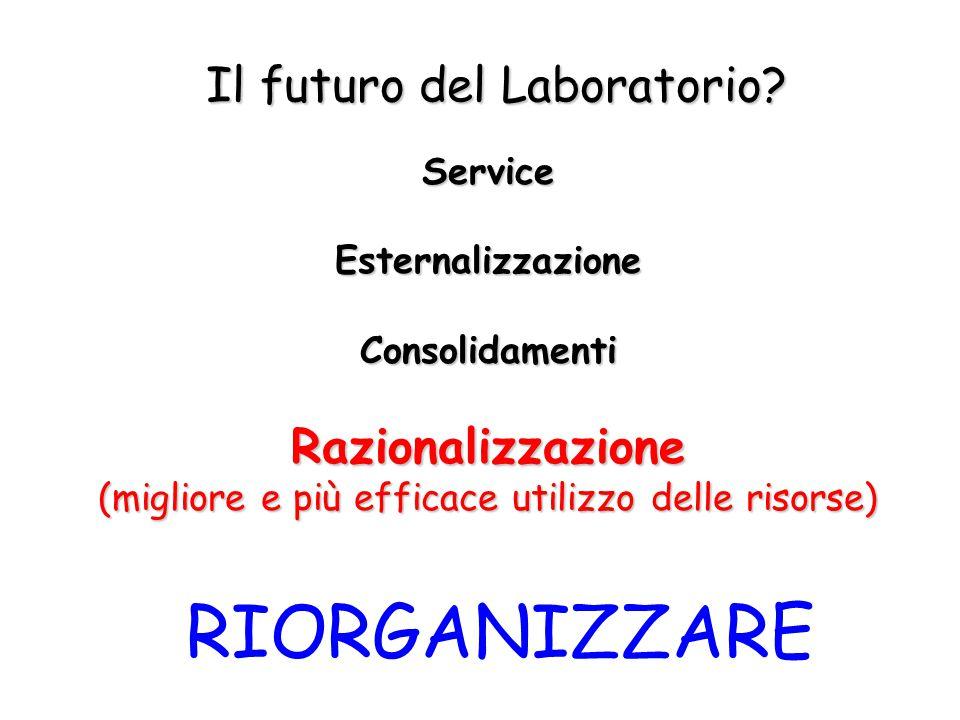 Il futuro del Laboratorio? ServiceEsternalizzazioneConsolidamentiRazionalizzazione (migliore e più efficace utilizzo delle risorse) RIORGANIZZARE