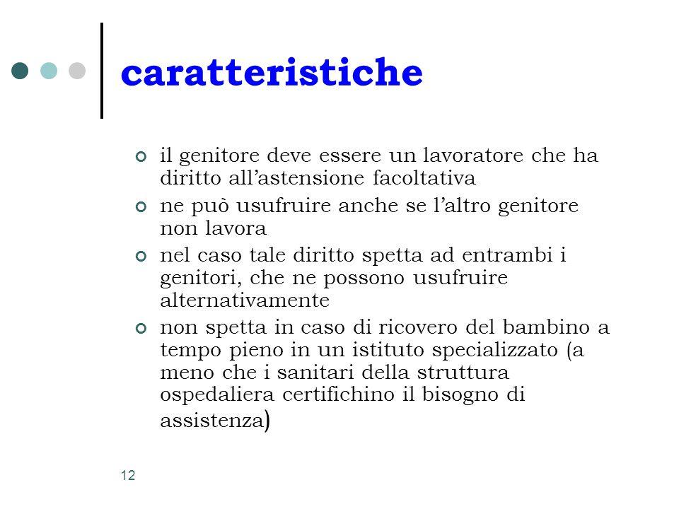 12 caratteristiche il genitore deve essere un lavoratore che ha diritto all'astensione facoltativa ne può usufruire anche se l'altro genitore non lavo