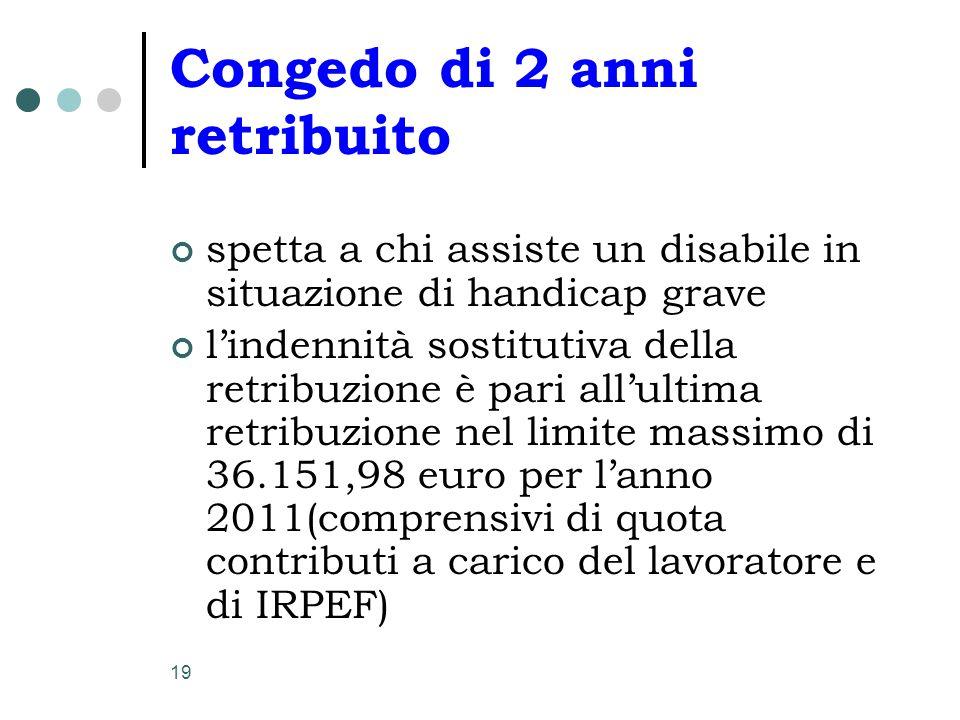 19 Congedo di 2 anni retribuito spetta a chi assiste un disabile in situazione di handicap grave l'indennità sostitutiva della retribuzione è pari all