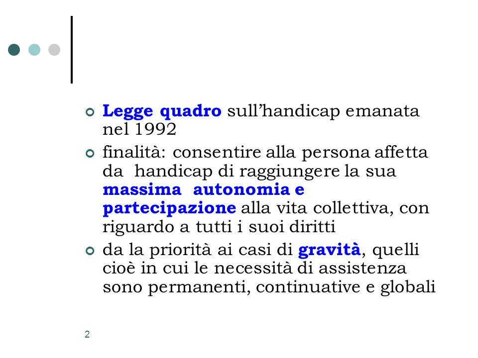 2 Legge quadro sull'handicap emanata nel 1992 finalità: consentire alla persona affetta da handicap di raggiungere la sua massima autonomia e partecip