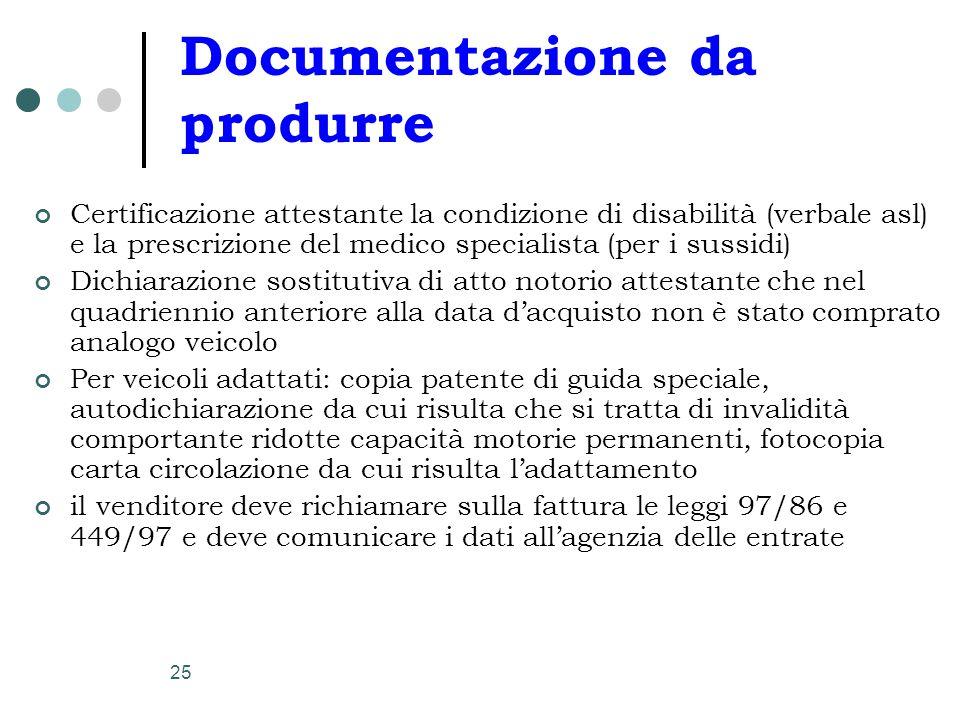 25 Documentazione da produrre Certificazione attestante la condizione di disabilità (verbale asl) e la prescrizione del medico specialista (per i suss