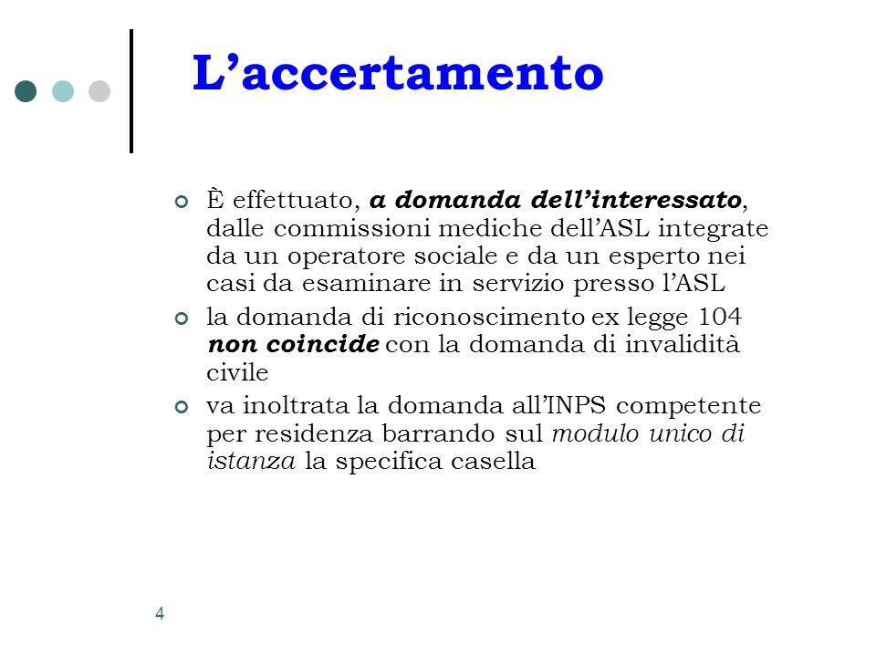 4 L'accertamento È effettuato, a domanda dell'interessato, dalle commissioni mediche dell'ASL integrate da un operatore sociale e da un esperto nei ca