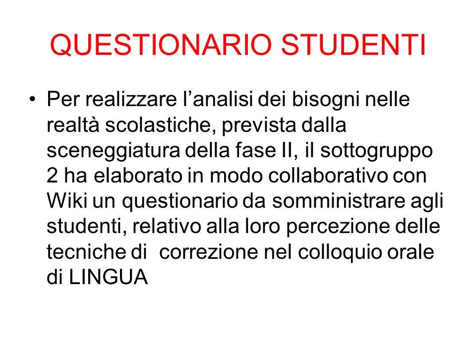 QUESTIONARIO STUDENTI Per realizzare l'analisi dei bisogni nelle realtà scolastiche, prevista dalla sceneggiatura della fase II, il sottogruppo 2 ha e