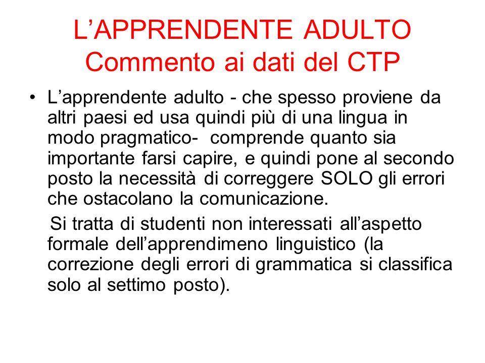 L'APPRENDENTE ADULTO Commento ai dati del CTP L'apprendente adulto - che spesso proviene da altri paesi ed usa quindi più di una lingua in modo pragma