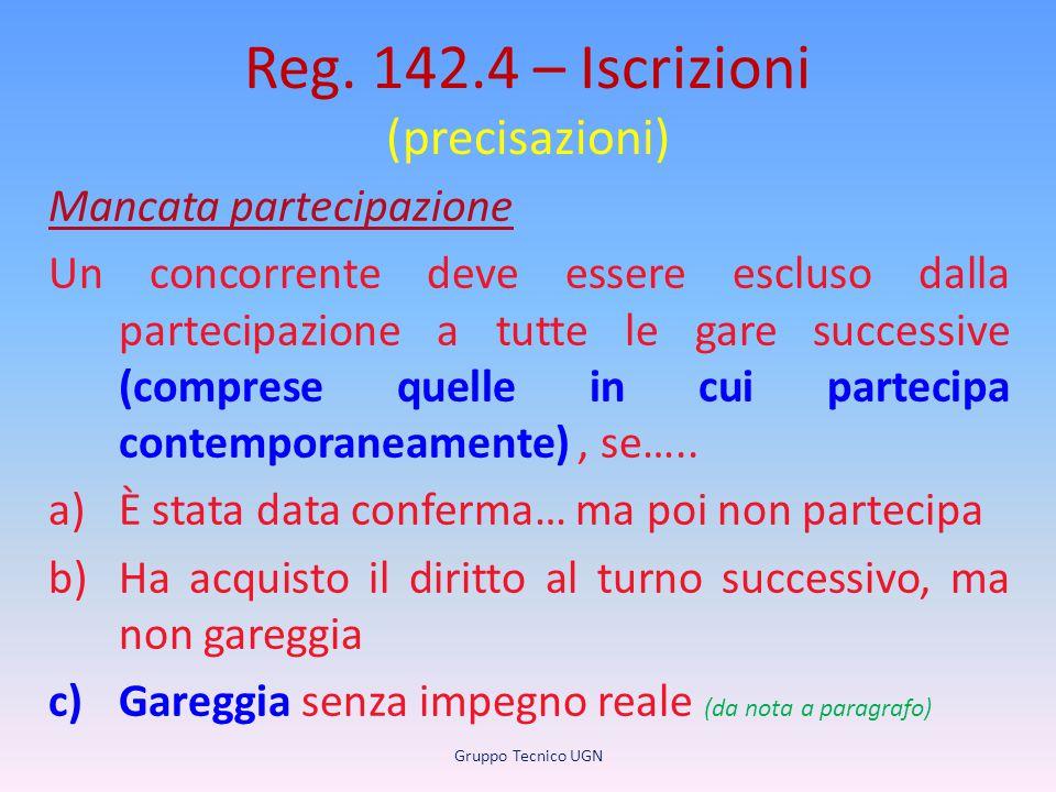 Reg. 142.4 – Iscrizioni (precisazioni) Mancata partecipazione Un concorrente deve essere escluso dalla partecipazione a tutte le gare successive (comp