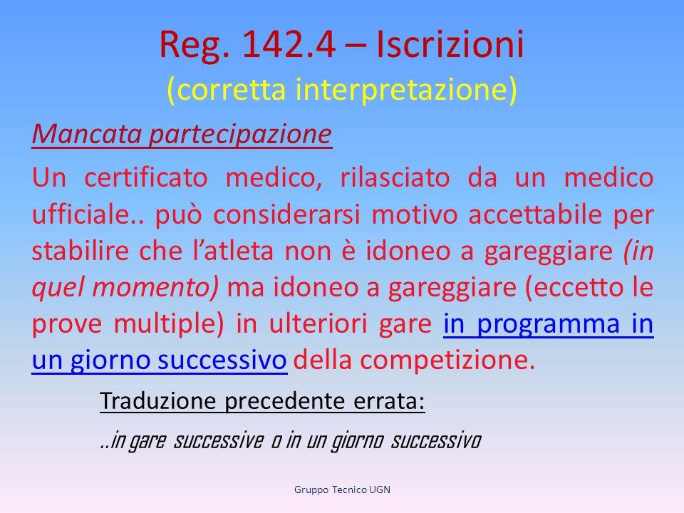 Reg. 142.4 – Iscrizioni (corretta interpretazione) Mancata partecipazione Un certificato medico, rilasciato da un medico ufficiale.. può considerarsi