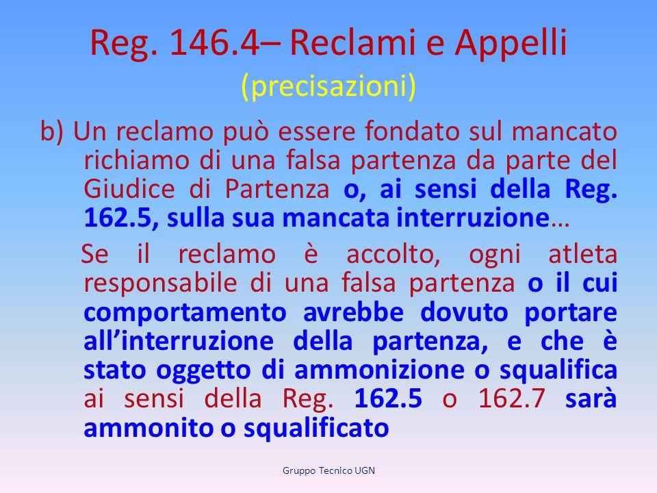 Reg. 146.4– Reclami e Appelli (precisazioni) b) Un reclamo può essere fondato sul mancato richiamo di una falsa partenza da parte del Giudice di Parte