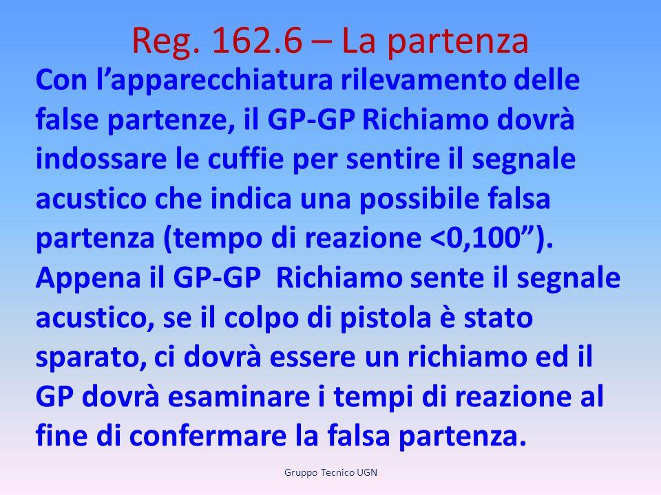 Reg. 162.6 – La partenza Con l'apparecchiatura rilevamento delle false partenze, il GP-GP Richiamo dovrà indossare le cuffie per sentire il segnale ac