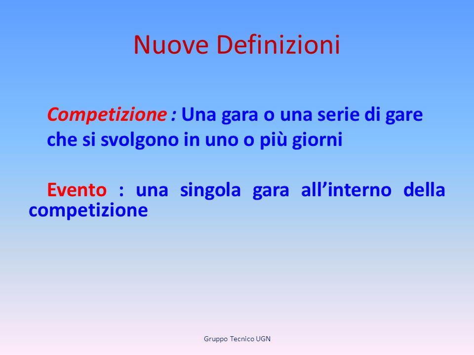 Nuove Definizioni Competizione : Una gara o una serie di gare che si svolgono in uno o più giorni Evento : una singola gara all'interno della competiz