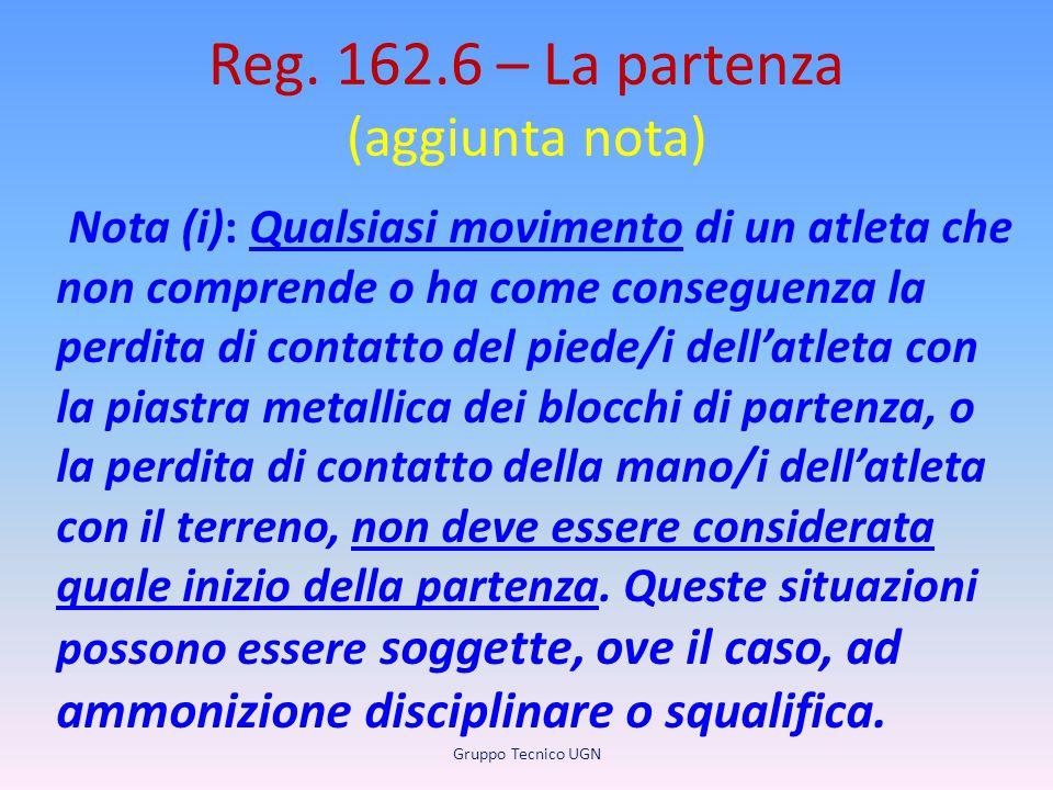 Reg. 162.6 – La partenza (aggiunta nota) Nota (i): Qualsiasi movimento di un atleta che non comprende o ha come conseguenza la perdita di contatto del
