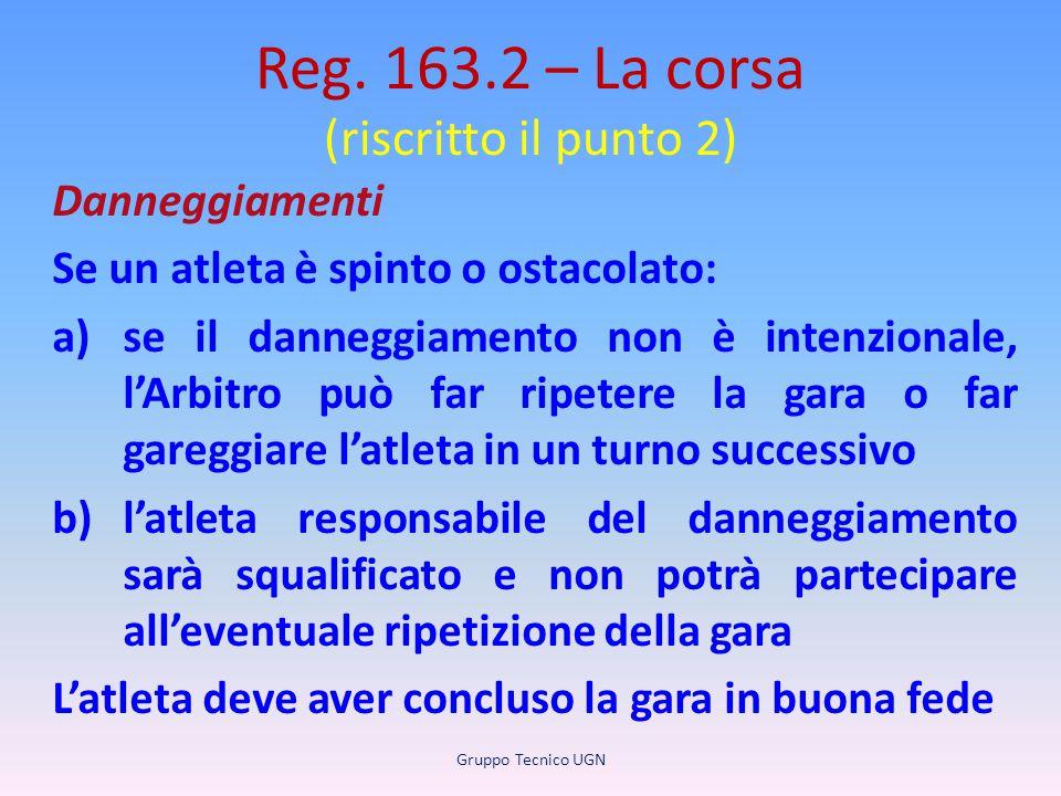 Reg. 163.2 – La corsa (riscritto il punto 2) Danneggiamenti Se un atleta è spinto o ostacolato: a)se il danneggiamento non è intenzionale, l'Arbitro p
