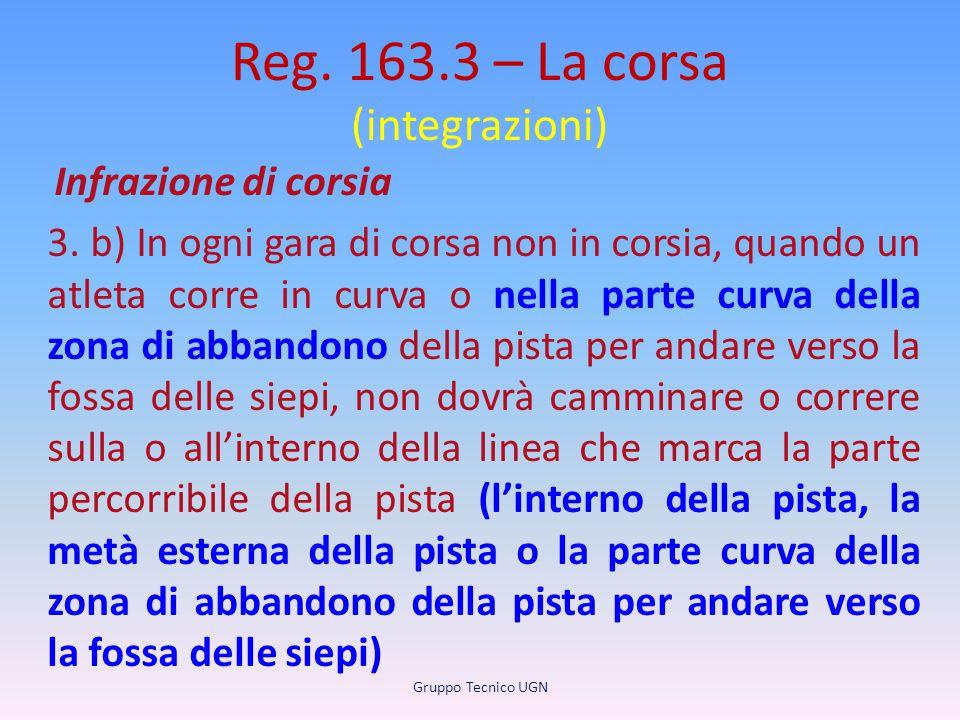 Reg. 163.3 – La corsa (integrazioni) Infrazione di corsia 3. b) In ogni gara di corsa non in corsia, quando un atleta corre in curva o nella parte cur