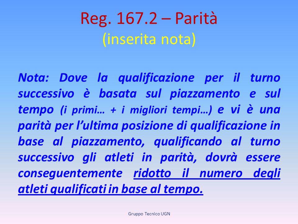 Reg. 167.2 – Parità (inserita nota) Nota: Dove la qualificazione per il turno successivo è basata sul piazzamento e sul tempo (i primi… + i migliori t