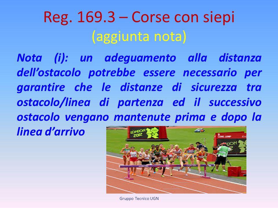 Reg. 169.3 – Corse con siepi (aggiunta nota) Nota (i): un adeguamento alla distanza dell'ostacolo potrebbe essere necessario per garantire che le dist