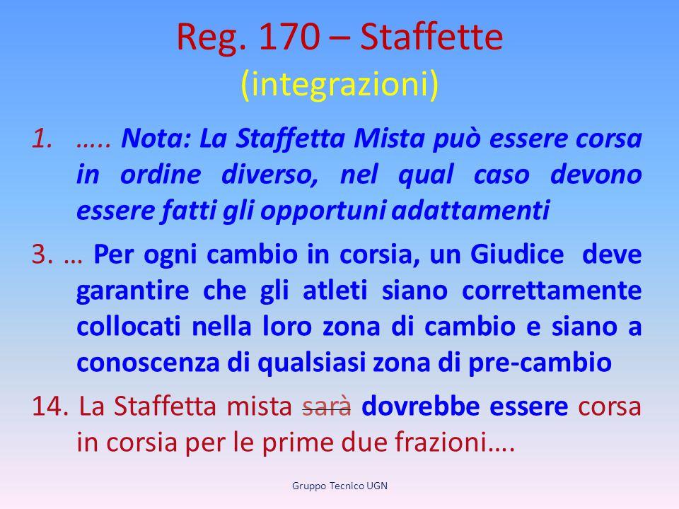 Reg. 170 – Staffette (integrazioni) 1.….. Nota: La Staffetta Mista può essere corsa in ordine diverso, nel qual caso devono essere fatti gli opportuni