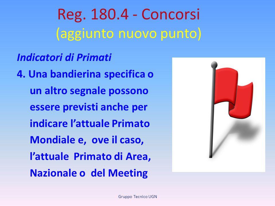 Reg. 180.4 - Concorsi (aggiunto nuovo punto) Indicatori di Primati 4. Una bandierina specifica o un altro segnale possono essere previsti anche per in