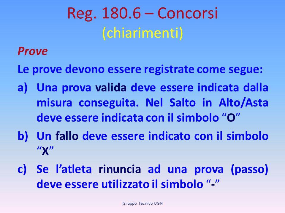 Reg. 180.6 – Concorsi (chiarimenti) Prove Le prove devono essere registrate come segue: a)Una prova valida deve essere indicata dalla misura conseguit
