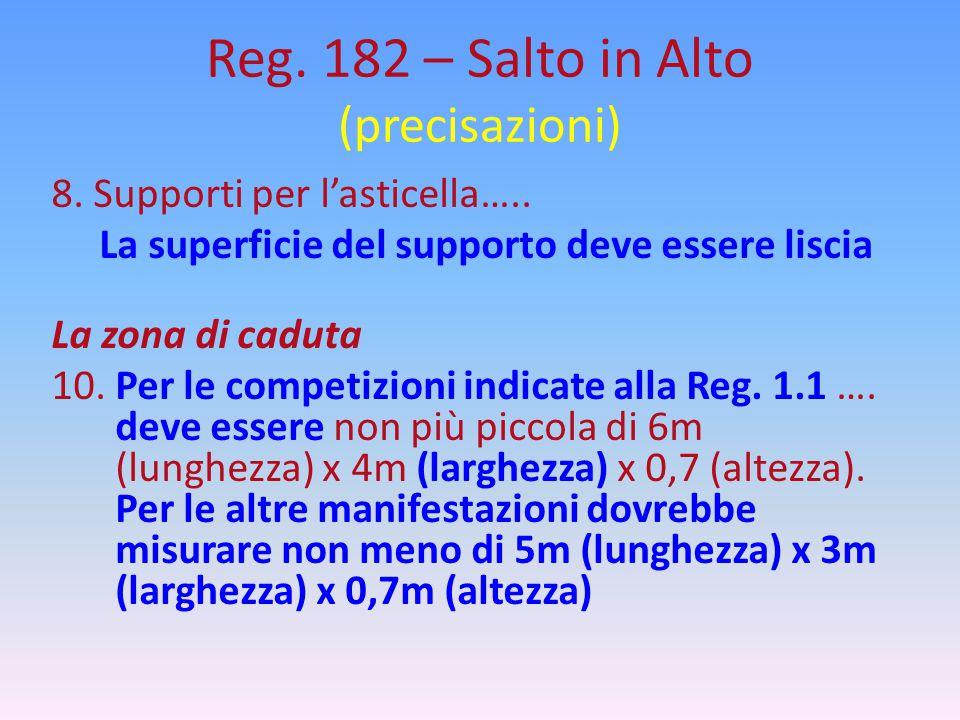 Reg. 182 – Salto in Alto (precisazioni) 8. Supporti per l'asticella….. La superficie del supporto deve essere liscia La zona di caduta 10. Per le comp