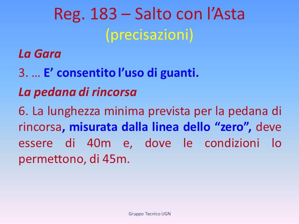 Reg. 183 – Salto con l'Asta (precisazioni) La Gara 3. … E' consentito l'uso di guanti. La pedana di rincorsa 6. La lunghezza minima prevista per la pe