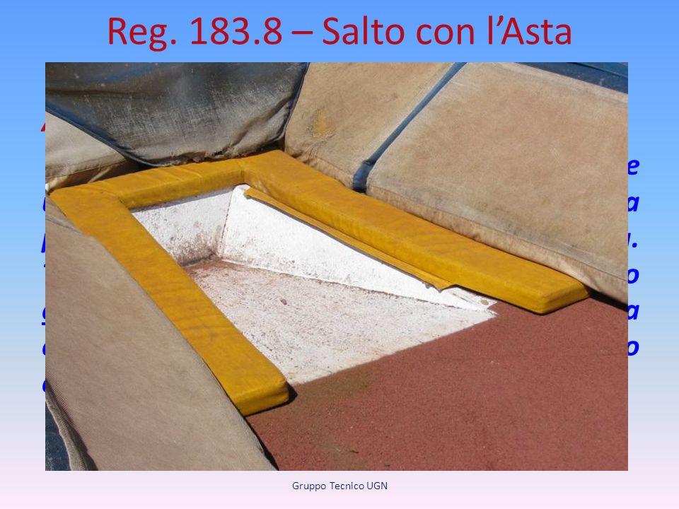 Reg. 183.8 – Salto con l'Asta (inserita nota) Attrezzature Nota: Un atleta può posizionare un'imbottitura attorno alla cassetta per una protezione agg