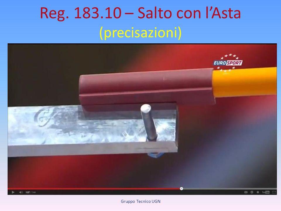 Reg. 183.10 – Salto con l'Asta (precisazioni) Supporti per l'asticella. L'asticella deve appoggiare su pioli orizzontali in modo che…. I pioli vertica