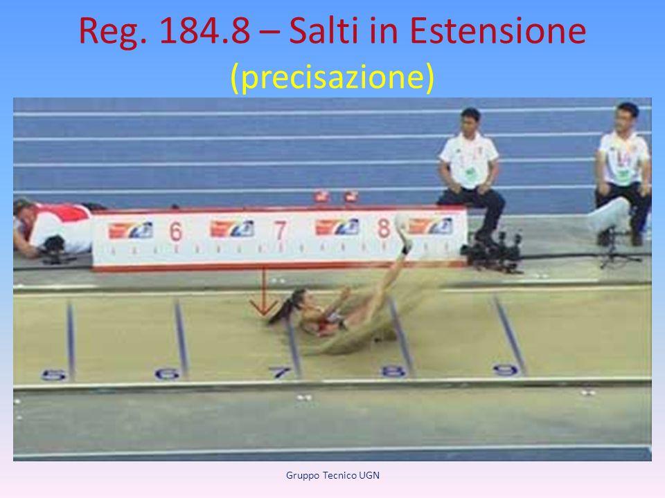 Reg. 184.8 – Salti in Estensione (precisazione) Misurazione delle distanze Tutti i salti debbono essere misurati dal segno più vicino alla linea di st