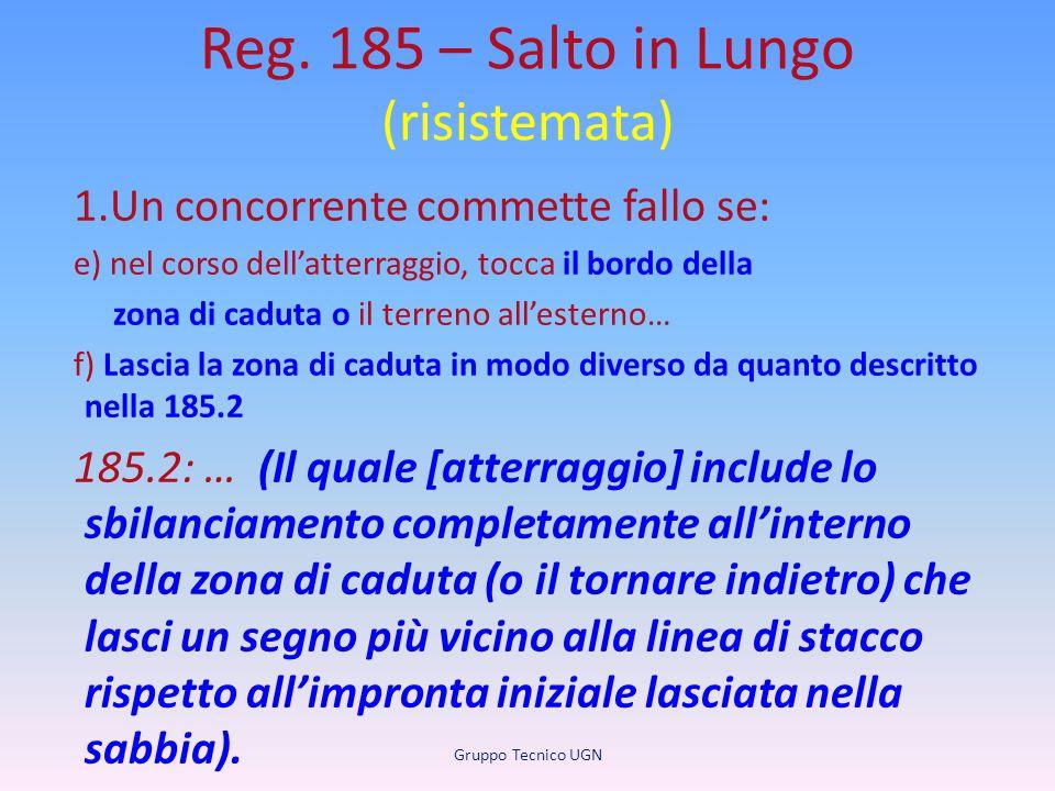 Reg. 185 – Salto in Lungo (risistemata) 1.Un concorrente commette fallo se: e) nel corso dell'atterraggio, tocca il bordo della zona di caduta o il te