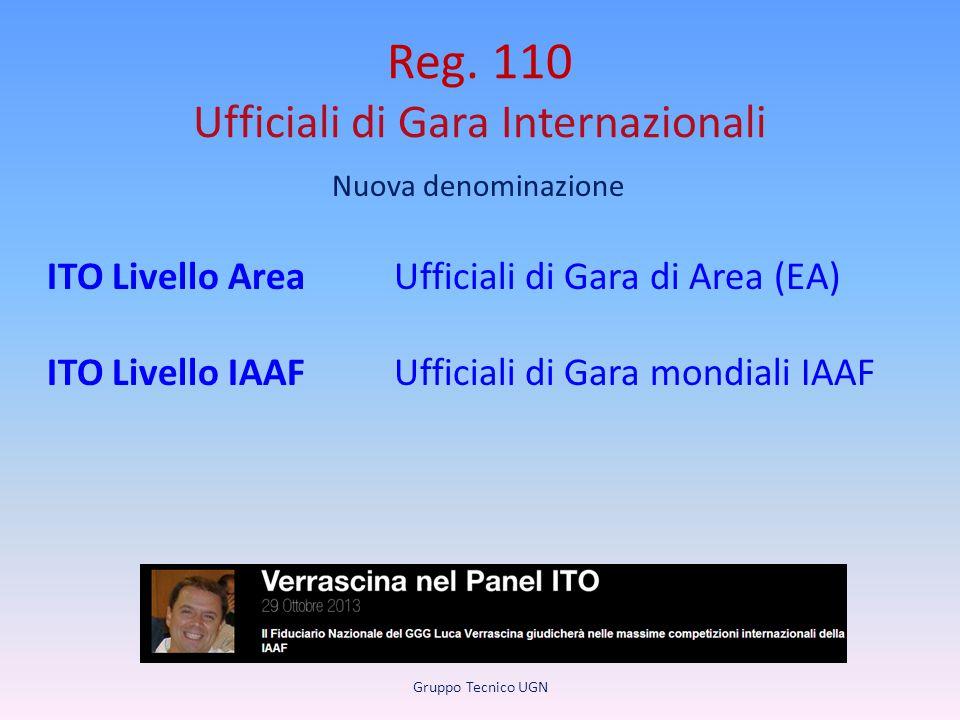 Reg. 110 Ufficiali di Gara Internazionali Nuova denominazione ITO Livello AreaUfficiali di Gara di Area (EA) ITO Livello IAAFUfficiali di Gara mondial