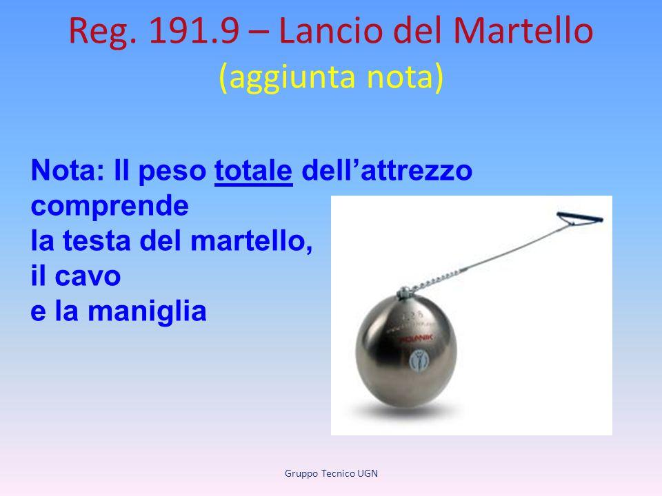 Reg. 191.9 – Lancio del Martello (aggiunta nota) Gruppo Tecnico UGN Nota: Il peso totale dell'attrezzo comprende la testa del martello, il cavo e la m