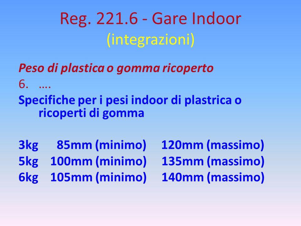 Reg. 221.6 - Gare Indoor (integrazioni) Peso di plastica o gomma ricoperto 6.…. Specifiche per i pesi indoor di plastrica o ricoperti di gomma 3kg 85m