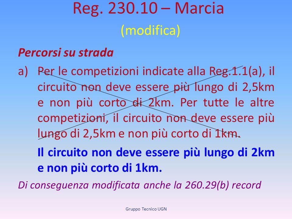 Reg. 230.10 – Marcia (modifica) Percorsi su strada a)Per le competizioni indicate alla Reg.1.1(a), il circuito non deve essere più lungo di 2,5km e no