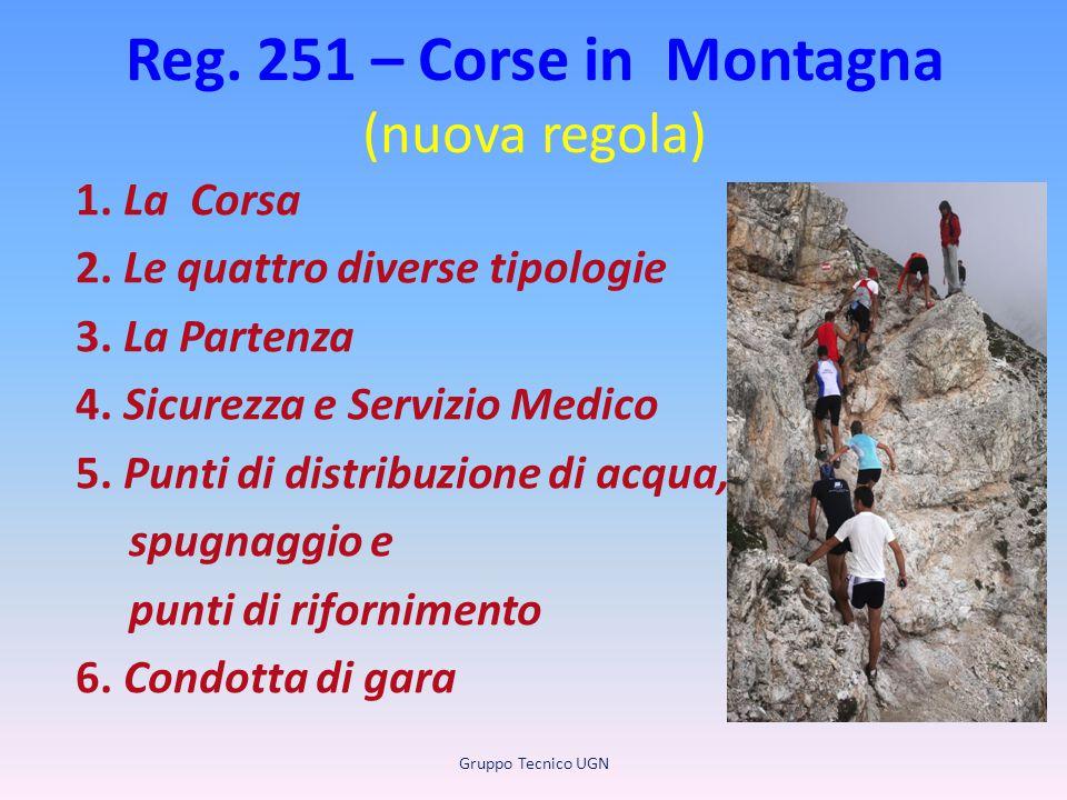 Reg. 251 – Corse in Montagna (nuova regola) 1. La Corsa 2. Le quattro diverse tipologie 3. La Partenza 4. Sicurezza e Servizio Medico 5. Punti di dist